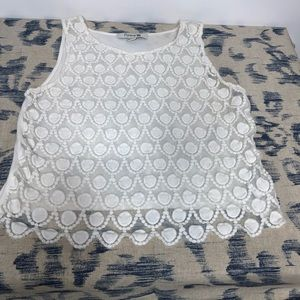 Forever 21 White Lace Scallop Tank Top Sheer